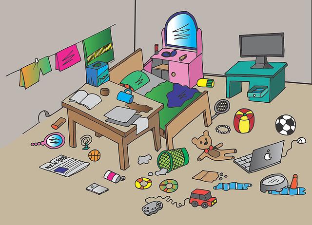 部屋が散らかっている