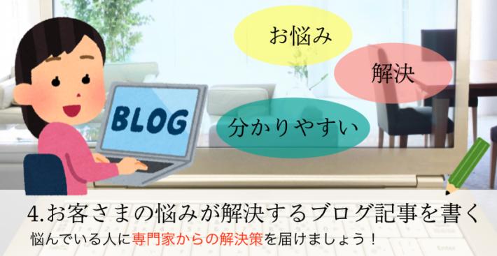 4.お客さまの悩みが解決するブログ記事を書く